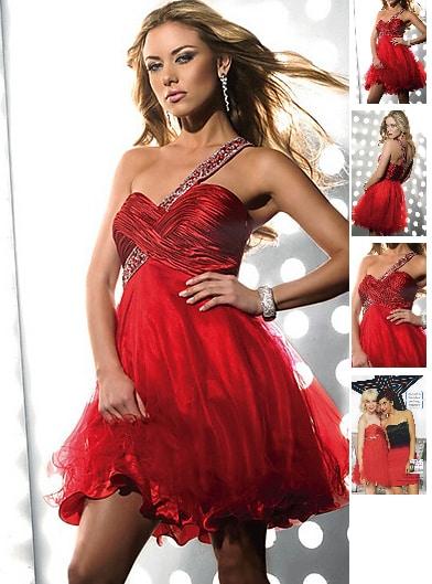 rotes partykleid gl nzende optik id1222 abendkleider abendmode. Black Bedroom Furniture Sets. Home Design Ideas