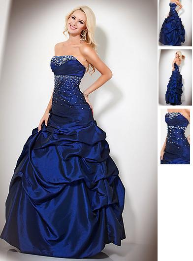Schönes Abendkleid mit Raffinierten Bandeau Blau ID34 ...