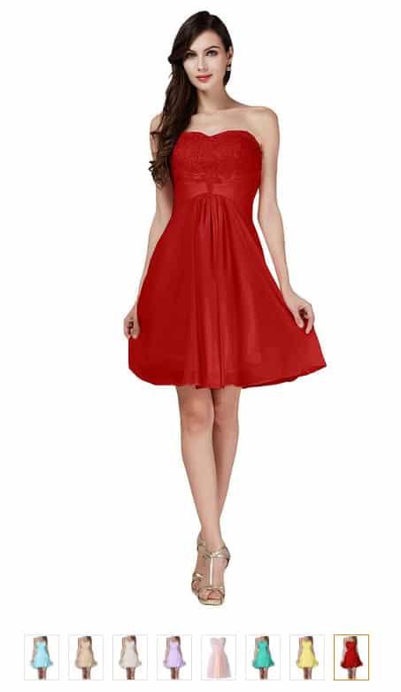 Abendkleid Partykleid Kurz 100 % Chiffon ID1651 - (Oktober ...